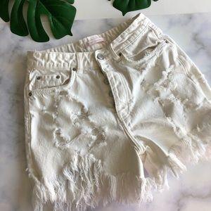 NWT Zara distressed Hugh waisted shorts